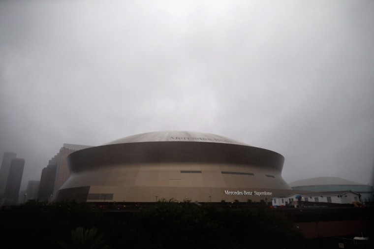 High winds and rain from Hurricane Isaac fall on the Louisiana Superdome on August 29, 2012 in New Orleans, Louisiana. (Chris Graythen/Getty Images)