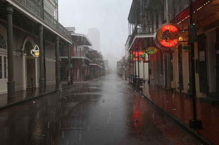 Rain from Hurricane Isaac falls over Bourbon Street on August 29, 2012 in New Orleans, Louisiana. (John Moore/Getty Images)