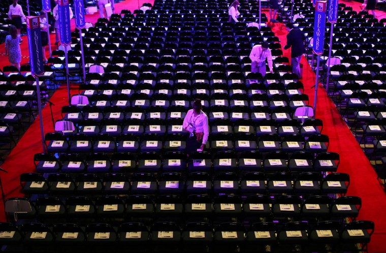 Workers setup for the third day of the Republican National Convention at the Tampa Bay Times Forum on August 29, 2012 in Tampa, Florida. (Spencer Platt/Getty Images)