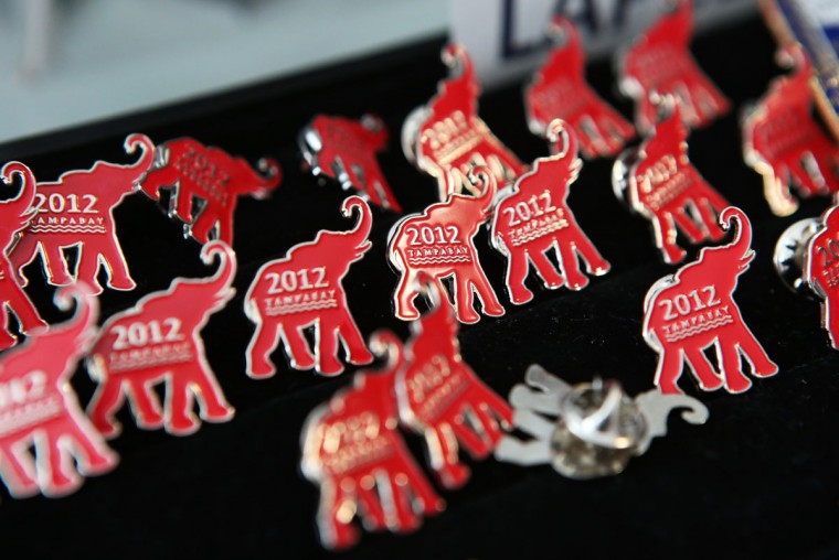 Campagin pins are on display for sale in the GOP gift shop during the third day of the Republican National Convention at the Tampa Bay Times Forum on August 29, 2012 in Tampa, Florida. (Chip Somodevilla/Getty Images)