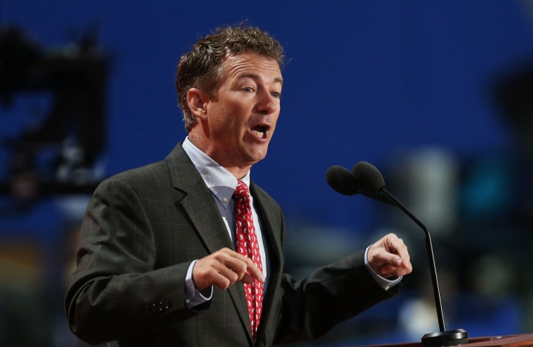 U.S. Sen. Rand Paul (R-KY) waves as he speaks during the third day of the Republican National Convention at the Tampa Bay Times Forum on August 29, 2012 in Tampa, Florida. (Win McNamee/Getty Images)