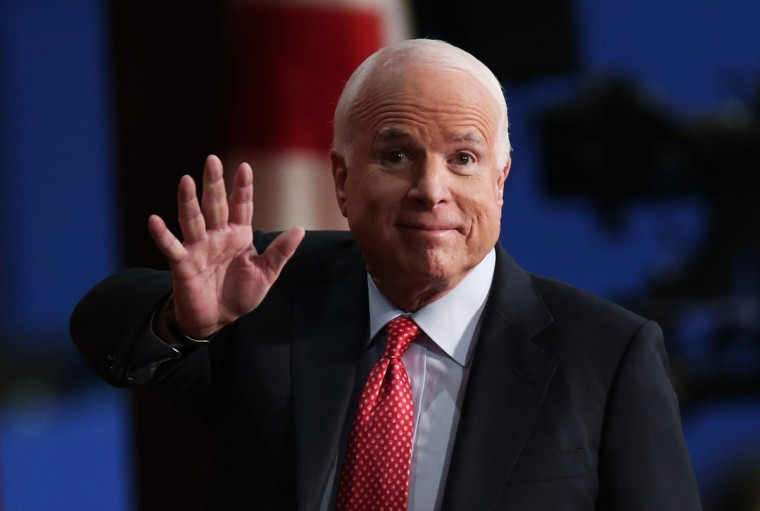 U.S. Sen. John McCain (R-AZ) waves during the third day of the Republican National Convention at the Tampa Bay Times Forum on August 29, 2012 in Tampa, Florida. (Win McNamee/Getty Images)
