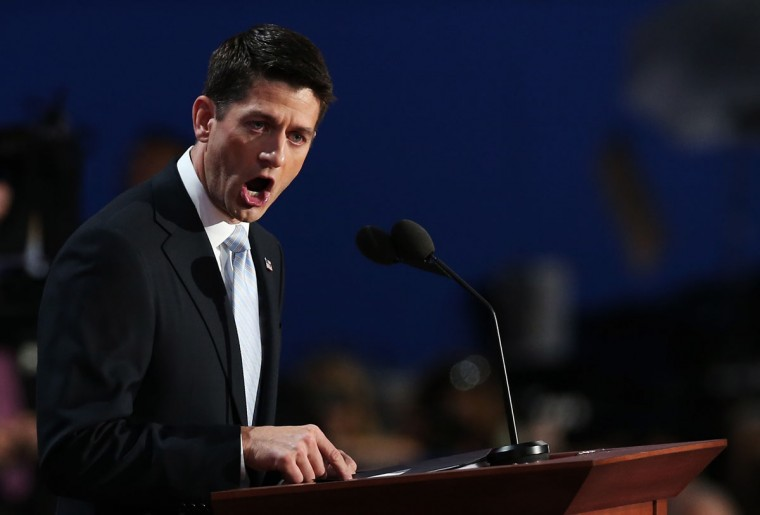 Republican vice presidential candidate, U.S. Rep. Paul Ryan (R-WI) speaks during the third day of the Republican National Convention at the Tampa Bay Times Forum on August 29, 2012 in Tampa, Florida. (Win McNamee/Getty Images)