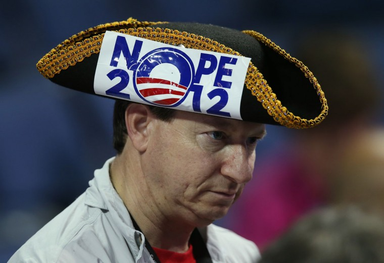 Arthur Cooper of Scottsdale, AZ wears a tri-corner hat during the third day of the Republican National Convention at the Tampa Bay Times Forum on August 29, 2012 in Tampa, Florida. (Scott Olson/Getty Images)