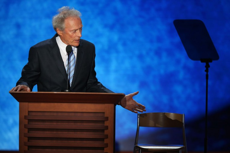 Actor Clint Eastwood speaks during the final day of the Republican National Convention at the Tampa Bay Times Forum in Tampa, Florida. (Mark Wilson/Getty Images)