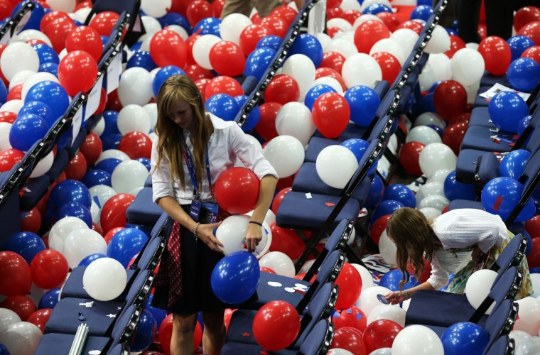 A person stands in balloons after Republican presidential candidate, former Massachusetts Gov. Mitt Romney accepted the nomination during the final day of the Republican National Convention at the Tampa Bay Times Forum in Tampa, Florida. (Mark Wilson/Getty Images)