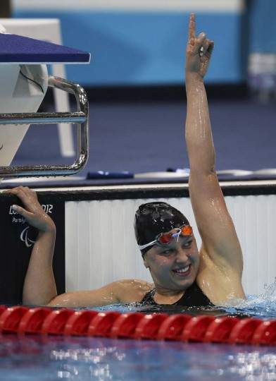 Jessica Long of the United States celebrates winning gold after competing in the Women's 400m Freestyle - S8 Final on day 2 of the London 2012 Paralympic Games at Aquatics Centre on August 31, 2012 in London, England. (Clive Rose/Getty Images)