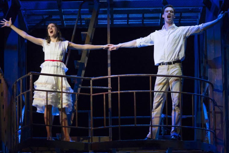 Liam Tobin as Tony (R) and Elena Sancho Pereg as Maria (L) perform during a dress rehearsal for the musical West Side Story at the German Oper (Deutsche Oper) which premiered in Berlin, Germany, on June 26, 2012. (Carsten Koall/AFP/Getty Images)