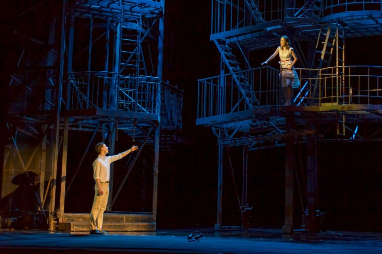 Liam Tobin as Tony (L) and Elena Sancho Pereg as Maria (R) perform during a dress rehearsal for the musical West Side Story at the German Oper (Deutsche Oper) which premiered in Berlin, Germany, on June 26, 2012. (Carsten Koall/AFP/Getty Images)