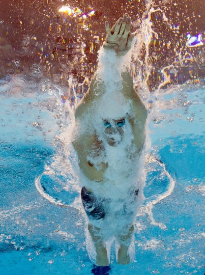 Israel's Nimrod Shapira Bar-On competes in the men's 200m freestyle heats swimming event at the London 2012 Olympic Games on July 29, 2012 in London. (Francois Xavier Marit/AFP/Getty Images)
