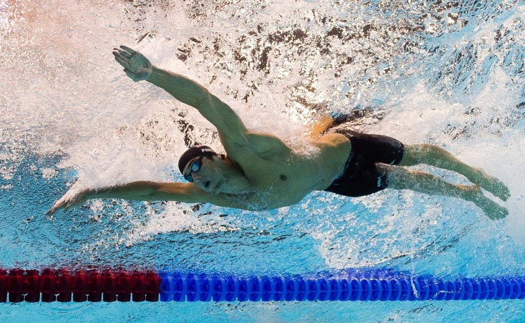 U.S. swimmer Michael Phelps competes in the men's 200m butterfly semi-final swimming event at the London 2012 Olympic Games on July 30, 2012 in London. (Francois Xavier Marit/AFP/Getty Images)