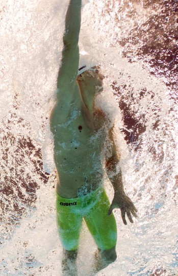 Brazil's Cesar Cielo competes in the men's 100m freestyle heats during the swimming event at the London 2012 Olympic Games on July 31, 2012 in London. (Francois Xavier Marit/AFP/Getty Images)