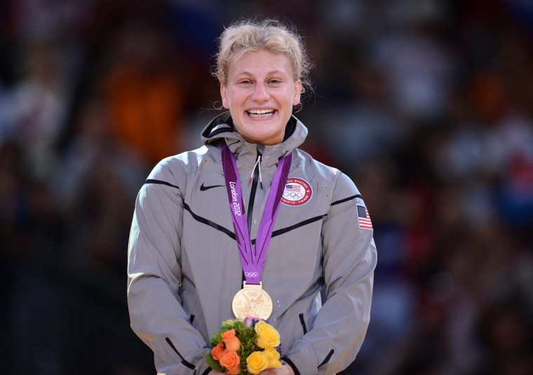 United States' gold medalist Kayla Harrison reacts on the podium of the women's -78kg judo contest of the London 2012 Olympic Games on August 2, 2012 at the ExCel arena in London. (Franck Fife/AFP/Getty Images)