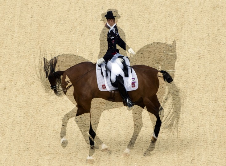 "A multi-exposure photograph shows Poland's Michal Rapcewicz doing a ""Pirouette"" on Randon as he competes in the dressage preliminaries of the London 2012 Olympic Games at the equestrian venue in Greenwich Park, London, on August 2, 2012. (John MacDougall/AFP/Getty Images)"