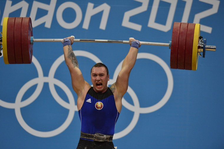 Belarus' Aliaksandr Makaranka competes during the men's 94kg group B weightlifting event of the London 2012 Olympic Games at The Excel Centre in London on August 4, 2012. (Yuri Cortez/AFP/Getty Images)