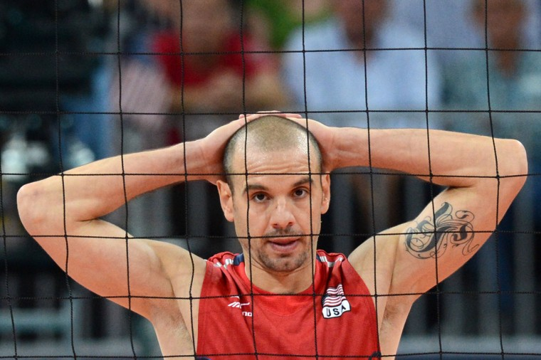 Donald Suxho of the US reacts during the Men's preliminary pool B volleyball match between Russia and the US in the 2012 London Olympic Games in London on August 4, 2012. (Kirill Kudryavtsev/AFP/Getty Images)