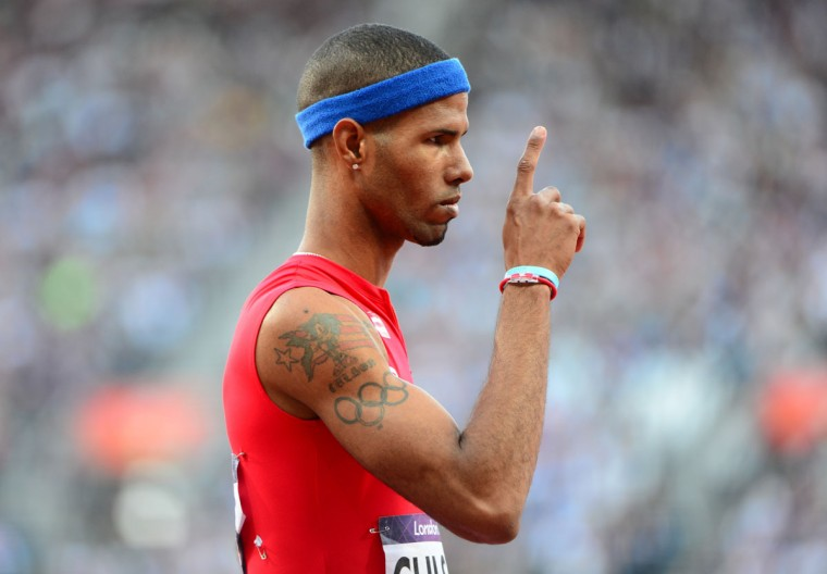 Puerto Rico's Javier Culson reacts after competing in the men's 400m hurdles semifinals at the athletics event of the London 2012 Olympic Games on August 4, 2012 in London. (Olivier Morin/AFP/Getty Images)