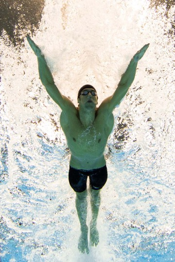 U.S. swimmer Michael Phelps swims the butterfly leg in the men's 4x100m medley relay final during the swimming event at the London 2012 Olympic Games on August 4, 2012 in London. (Francois Xavier Marit/AFP/Getty Images)