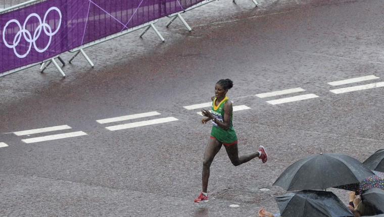 Ethiopia's Tiki Gelana runs to win the women's marathon at the London 2012 Olympic Games, on August 5, 2012. (Paul Hackett/AFP/Getty Images)