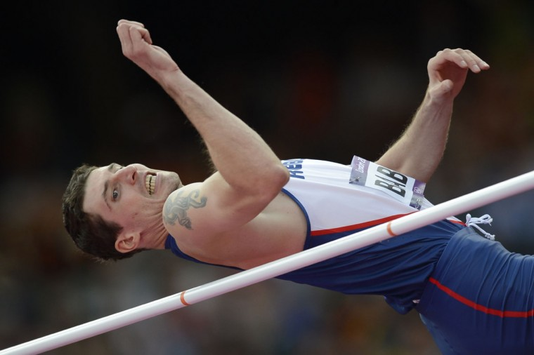 Czech Republic's Jaroslav Baba competes in the men's high jump qualifying round at the athletics event during the London 2012 Olympic Games on August 5, 2012 in London. (Adrian Dennis/AFP/Getty Images)
