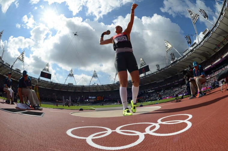 Germany's Josephine Terlecki competes in the women's shot put qualifications at the athletics event of the London 2012 Olympic Games on August 6, 2012 in London. (Franck Fife/AFP/Getty Images)