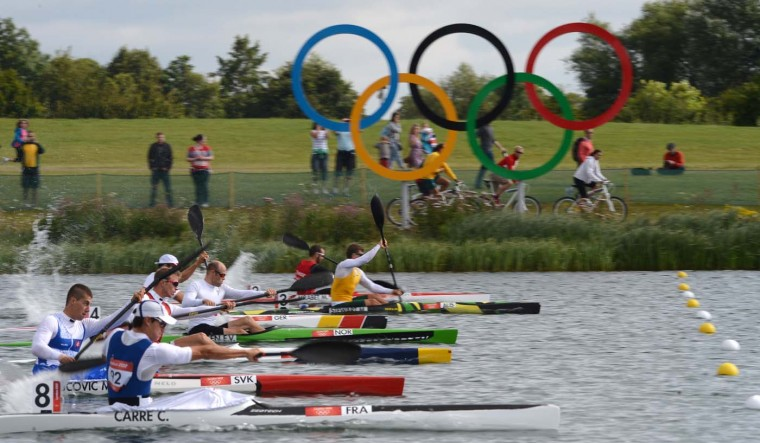 Rowers start competing in one of the kayak single (K1) 1000m men's semifinals during the London 2012 Olympic Games, at Eton Dorney Rowing Centre in Eton, west of London, on August 6, 2012. (Francisco Leong/AFP/Getty Images)