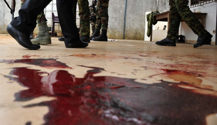 A picture shows blood from a member of the Ivory Coast Republican Force (FRCI) that was killed at the Akouedo military camp in Abidjan on August 6, 2012. A raid on the army base left at least six dead in the latest of a string of attacks targeting the military in the Ivory Coast economic capital. (Sia Kambousia/AFP/Getty Images)