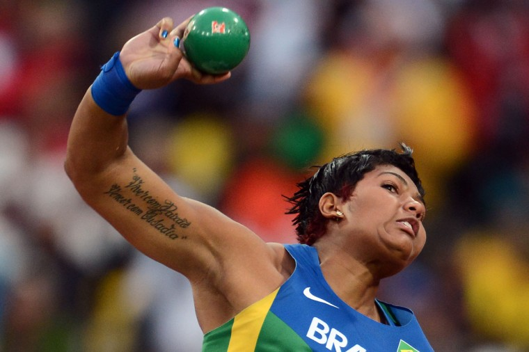 Brazil's Geisa Arcanjo competes in the women's shot put final at the athletics event of the London 2012 Olympic Games on August 6, 2012 in London. (Franck Fife/AFP/Getty Images)