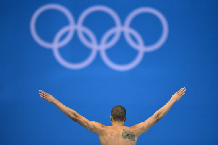 Brazil's Cesar Castro competes in the men's 3m springboard preliminary round during the diving event at the London 2012 Olympic Games on August 6, 2012 in London. (Fabrice Coffrini/AFP/Getty Images)