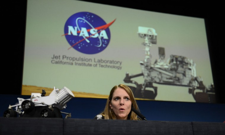 August 6, 2012: Mars Science Laboratory (MSL) mission manager Jennifer Trosper speaks at a press conference at NASA's Jet Propulsion Laboratory in Pasadena, California. (Robyn Beck/AFP/Getty Images)
