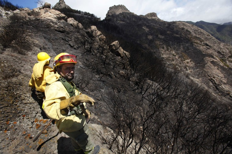 Firefighters stand amongst burnt trees after the passage of a wildfire at the National Park of Garajonay, on the Spanish canary island of La Gomera. A wildfire raged on August 6 on Spain's Canary Island of La Gomera which burnt down several homes and raced through a national park housing a rare subtropical forest, officials said. Deep ravines made it difficult to fight the blaze, which erupted on Saturday and has affected 3,100 hectares (7,400 acres) of land, including 350 hectares, or nine percent, of the Garajonay national park, a World Heritage Site. (Desiree Martin/AFP/Getty Images)