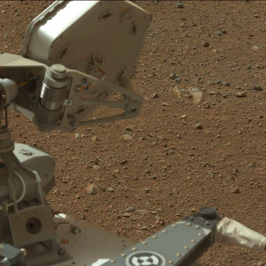 August 9, 2012: A view taken by Mastcam: Left (MAST_LEFT) onboard NASA's Mars rover Curiosity on Sol 3 (2012-08-09 05:54:41 UTC) shows the gravelly Martian surface under Curiosity. (NASA/JPL-Caltech/Malin Space Science Systems/HO/AFP/Getty Images)