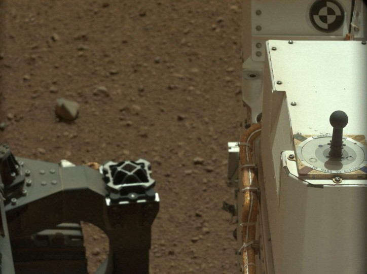 August 9, 2012: A view taken by Mastcam: Left (MAST_LEFT) on board NASA's Mars rover Curiosity on Sol 3 (2012-08-09 05:50:39 UTC) shows a portion of Curiosity. (NASA/JPL-Caltech/Malin Space Science Systems/HO/AFP/Getty Images)