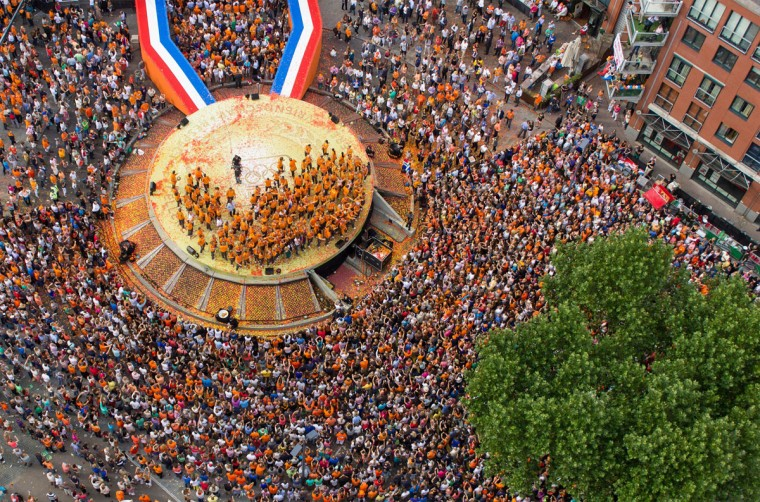 An aerial view taken using an Octocopter, a remote controlled helicopter, shows the ceremony honoring the Dutch Olympic team in Den Bosch, the Netherlands on August 13 2012. The Netherlands won 20 medals at the 2012 London Olympic Games, including six gold medals. (Paul Raats/AFP/Getty Images)