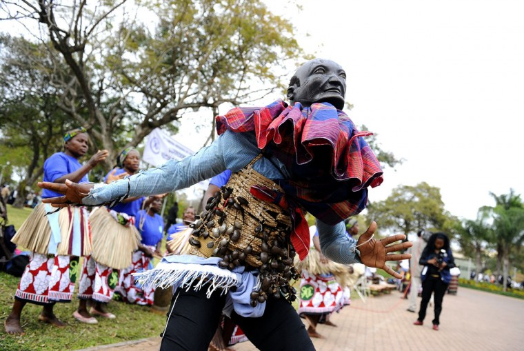 "A traditional dancer performs at the 32nd summit of the Southern African Development Community (SADC) at Maputo's Joaquim Chissano Conference Centre in Maputo. Southern African leaders meet until August 18 in Maputo for a summit that will try to nudge Madagascar and Zimbabwe toward new elections under ""roadmaps"" that are a test of the region's commitment to democracy (Stephane de Sakutin/AFP/Getty Images)"