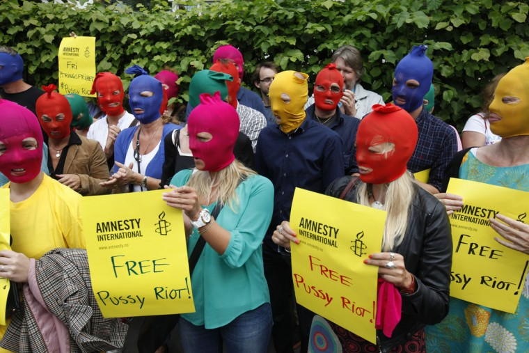 OSLO, NORWAY - AUGUST 17: Amnesty Norway demonstrates in support of Russian punk band Pussy Riot outside the Russian embassy on August 17, 2012 in Oslo. (Anette Karlsen/AFP/Getty Images)
