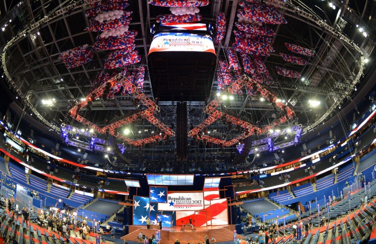 The floor at the Tampa Bay Times Forum on August 26, 2012 ahead of the Republican National Convention. The 2012 Republican National Convention is scheduled to be held at the Tampa Bay Times Forum from August 27-30, 2012, and is expected to host 2,286 delegates and 2,125 alternate delegates from all 50 states, the District of Columbia and five territories. (Stan Honda/AFP/GettyImages)