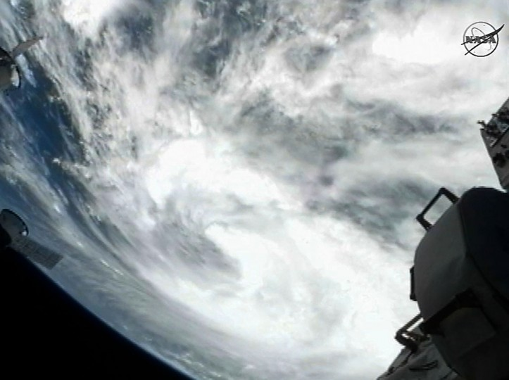 This August 27, 2012 NASA TV image captured by cameras on board the International Space Station (ISS) shows Tropical Storm Isaac heading on track towards the US state of Louisiana. Tropical Storm Isaac took aim at Louisiana and other U.S. Gulf states Monday, prompting them to declare states of emergency almost seven years after Hurricane Katrina devastated New Orleans. (NASA HO/AFP/Getty Images)