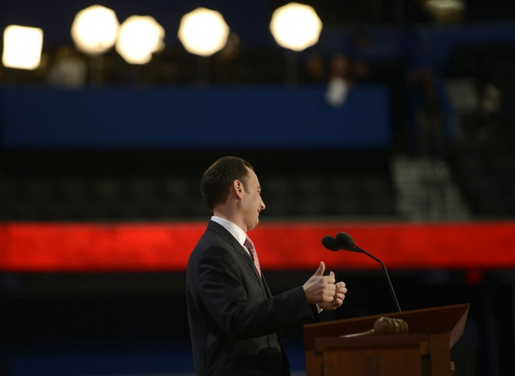 The Chairman of the Republican National Convention (RNC) Reince Priebus gives the thumbs-up after gaveling the convention to order and then immediate recess at the Tampa Bay Times Forum in Tampa, Florida, on August 27, 2012. (Brendan Smialowski/AFP/Getty Images)