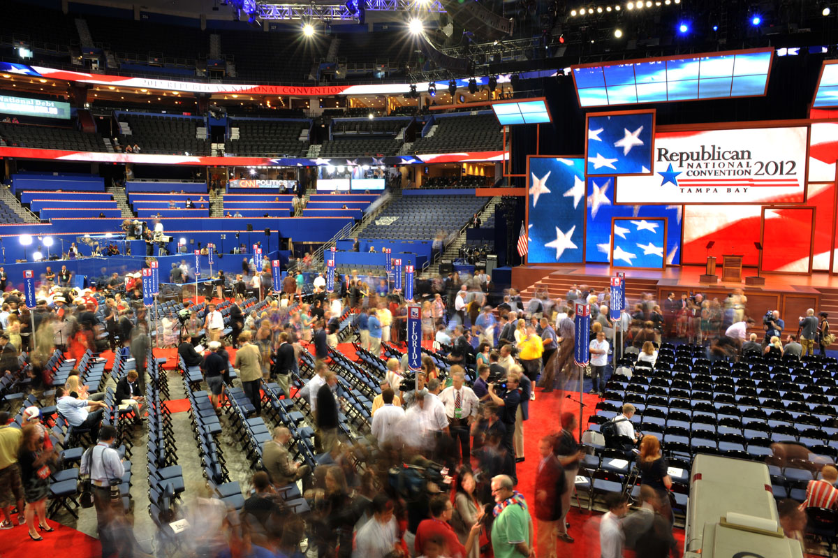 Day 1 at the Republican National Convention brings out politicians, GOP fans and protesters