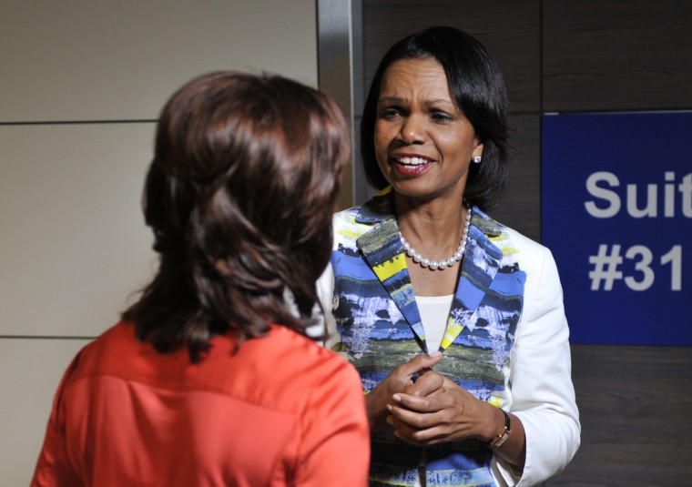 Former US Secretary of State Condoleezza Rice (R) is interviewed by a television reporter at the Tampa Bay Times Forum in Tampa, Florida, on August 29, 2012 during the Republican National Convention. (Brendan Smialowski/AFP/Getty Images)