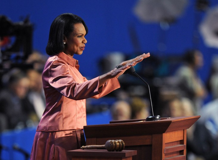 Former U.S. Secretary of State Condoleezza Rice speaks to the crowd at the Tampa Bay Times Forum in Tampa, Florida, on August 29, 2012 during the Republican National Convention (RNC). (Robyn Beck/AFP/Getty Images)