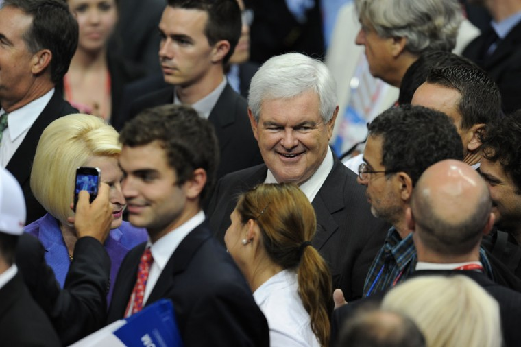 Former presidential candidate Newt Gingrich is seen in the crowd at the Tampa Bay Times Forum in Tampa, Florida, on August 29, 2012 during the Republican National Convention (RNC). (Robyn Beck/AFP/Getty Images)