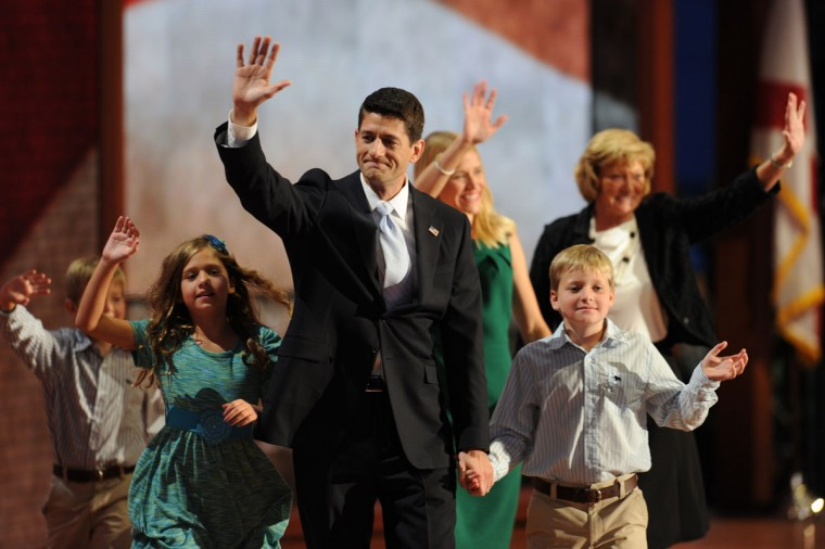 Republican vice presidential nominee Paul Ryan, his sons Sam and Charlie, daughter Liza, wife Janna and mother Betty Ryan Douglas wave at the end of his speech at the Tampa Bay Times Forum in Tampa, Florida, on August 29, 2012 during the Republican National Convention (RNC). (Robyn Beck/AFP/Getty Images)