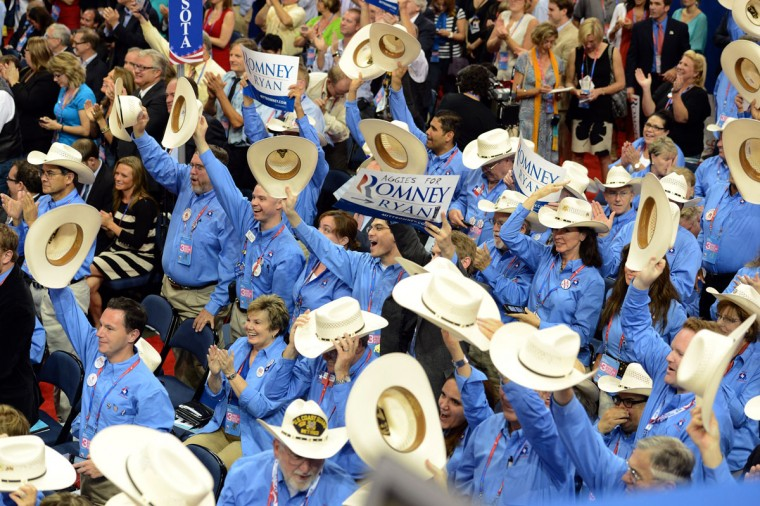 Texas delegates cheer as New Mexico Governor Susana Martinez says she carried a gun when she was young at the Tampa Bay Times Forum in Tampa, Florida, on August 29, 2012 during the Republican National Convention (RNC). (Robyn Beck/AFP/Getty Images)
