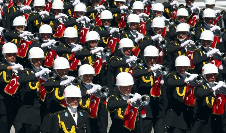 Turkish soldiers march during a military parade in Anakara marking the 90th anniversary of Victory Day. The holiday commemorates the defeat of the Greek army at the Battle of Dumlupinar. (Adem Altan/AFP/Getty Images)