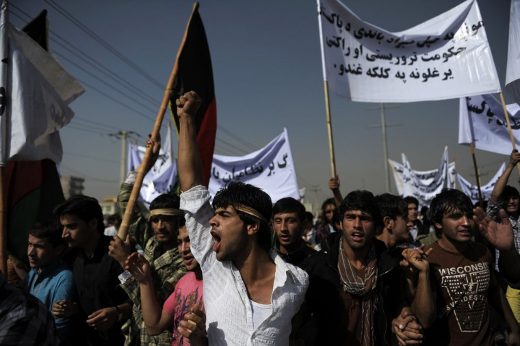 Afghans participate in a demonstration to demand the United Nations stop Pakistan's military and political intervention in the country. (Jose Cabezas/AFP/Getty Images)