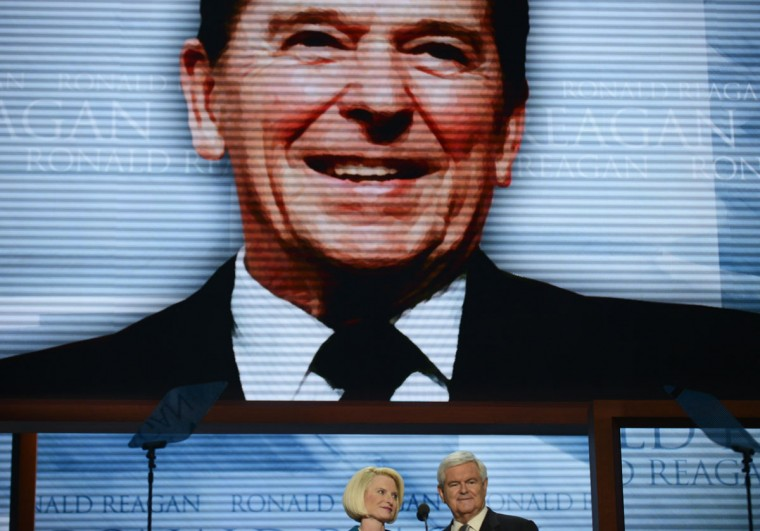 Newt and Callista Gingrich speak to the audience during a tribute to former president Ronald Reagan at the Tampa Bay Times Forum in Tampa, Florida on the final day of the Republican National Convention (RNC). (Brendan Smialowski/AFP/Getty Images)