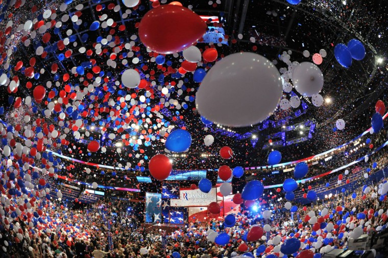 Balloons swirl in the air following Republican presidential candidate Mitt Romney's acceptance speech at the Tampa Bay Times Forum in Tampa, Florida on the final day of the Republican National Convention (RNC). (Stan Honda/AFP/Getty Images)