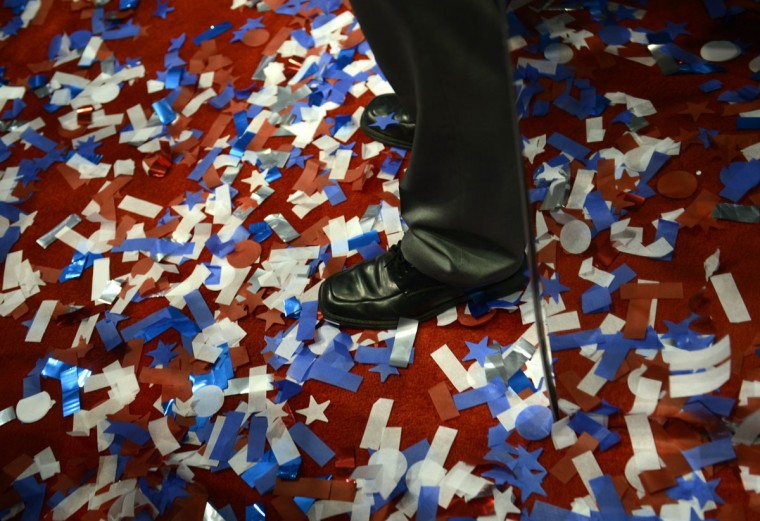 Confetti lie over the floor at the Tampa Bay Times Forum in Tampa, Florida on the last day of the Republican National Convention (RNC) (Brendan Smialowski/AFP/Getty Images)